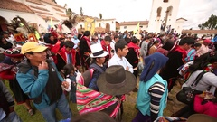 PERU: Traditional procession in Chincheros near Cusco Stock Footage
