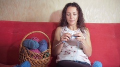 Girl knitting needles Stock Footage
