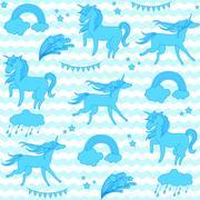 Blue unicorns with stars on a white and aquamarine background waves Stock Illustration