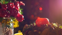 A woman hand is lighting a decorative Christmas candle during Christmas holiday Stock Footage