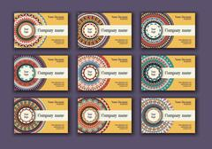 Vintage business visiting cards set. Ornamental mandala, ethnic circle deco.. Stock Illustration