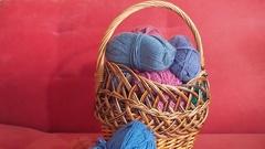 Wicker basket with yarn Stock Footage