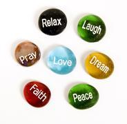 Seven Encouragement Stones on White Kuvituskuvat