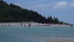 Whitehaven Beach, Inlet Hill, People on the Beach Stock Footage