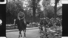 French soldiers marching near Paris. Late 1920s. Stock Footage