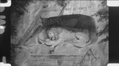 Lion of Lucerne monument and memorial in Lucerne, Switzerland. Stock Footage