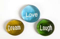 Love Laugh Dream Encouragement Stones Kuvituskuvat