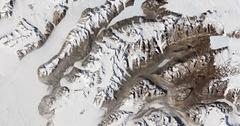 High-altitude overflight aerial of bare valleys in Taylor Glacier, Antarctica Stock Footage