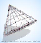 Abstract stereometry shape: Multicolor sketched Cone. Hand drawn 3D polygonal Stock Illustration