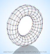 Abstract geometry shape: Multicolor sketched Torus. Hand drawn 3D polygonal Stock Illustration