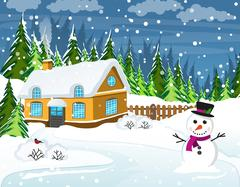 Snow-covered country house Stock Illustration