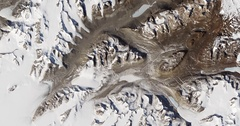 High-altitude overflight aerial of bare valleys in Taylor Glacier, Antarctica Stock Footage