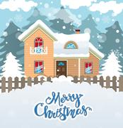 Snowy cottage Stock Illustration