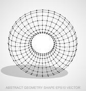 Abstract geometry shape: Black sketched Torus. Hand drawn 3D polygonal Torus Stock Illustration