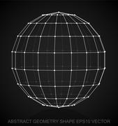 Abstract geometry shape: White sketched Sphere. Hand drawn 3D polygonal Sphere Stock Illustration