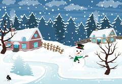 Winter village Stock Illustration