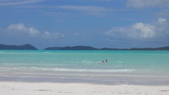Whitehaven Beach, Inlet Hill, Young Man in Water Stock Footage