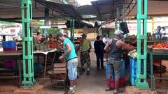 Fruit & vegetable ranks at the Havana farm market. Cuba Stock Footage