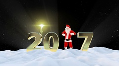 Santa Claus Dancing 2017 text, Dance 5, winter landscape and fireworks, Alpha Stock Footage