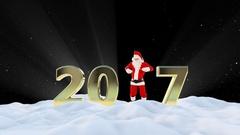 Santa Claus Dancing 2017 text, Dance 5, winter landscape, Alpha Channel Stock Footage