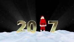 Santa Claus Dancing 2017 text, Dance 6, winter landscape, Alpha Channel Stock Footage