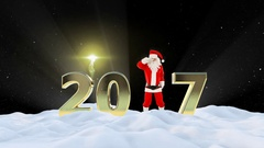 Santa Claus Dancing 2017 text, Dance 8, winter landscape and fireworks, Alpha Stock Footage