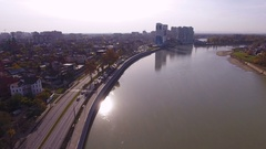 Aerial shot of the russian south city - Krasnodar. The river Kuban. 4K Stock Footage