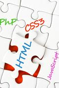Software development concept with puzzle pieces Stock Photos