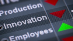 """Innovation"" on the screen. Down. Looping. Stock Footage"