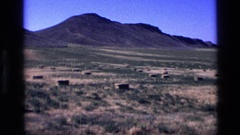 1972: baled hay bales in a field with hills in the background IDAHO Stock Footage