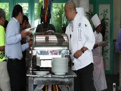 Executive Chef Mexico resort tastes breakfast food DCI 4K Stock Footage