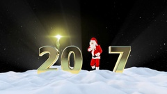 Santa Claus Dancing 2017 text, Dance 1, winter landscape and fireworks, Alpha Stock Footage