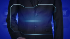 Businessman pressing security button on virtual screens. increase image Stock Footage