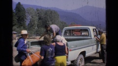 1973: emptying the bed SCAPEGOAT WILDERNESS MONTANA Stock Footage