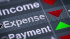 """Expense"" on the screen. Down. Looping. Stock Footage"