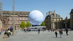 Central square with France Candidacy for World Fair 2025 Stock Footage