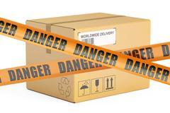 Dangerous parcels concept, 3D rendering Stock Illustration