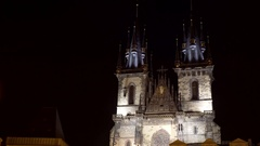 Church of Mother of God before Tyn at night, medium shot, Prague, Czech R. Stock Footage