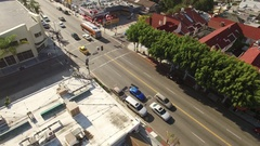 Aerial drone footage over Melrose Avenue, Los Angeles Stock Footage