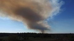 Aerial of Fire Smoke in the Distance Stock Footage