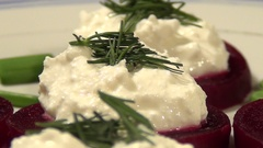 Healthy and fresh salad of beets and cottage cheese Stock Footage