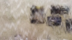 Water flows through the window Stock Footage