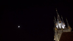 Church of Mother of God before Tyn at night with moon, Prague, Czech R. Stock Footage