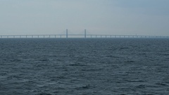 Bridge between Sweden and Denmark from the sea Stock Footage