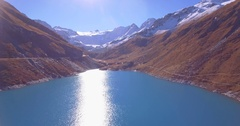 Moiry lake ascent - Aerial 4K Stock Footage