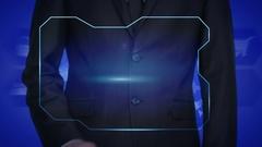 Technological Advances - A businessman holding a technical globe. World map Stock Footage