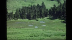 1977: long shot of sloping green hills and trees giving way to snowy mountain Stock Footage