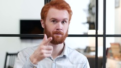 Call me, Contact Us Gesture by Beard Man with Red Hairs Stock Footage
