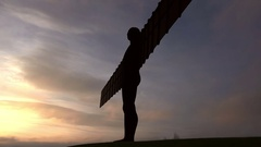 Angel of the north against sky, newcastle, gateshead, UK Stock Footage