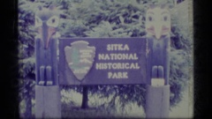 1977: a brown wooden sign which reads sitka national historical park ALASKA Stock Footage